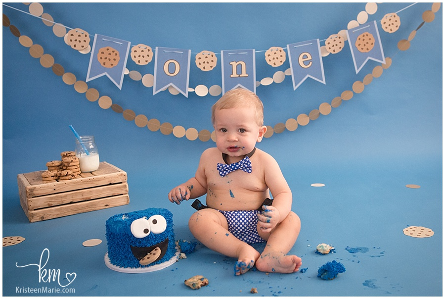 little boy first birthday/ cake smash/ cookie monster/ blue