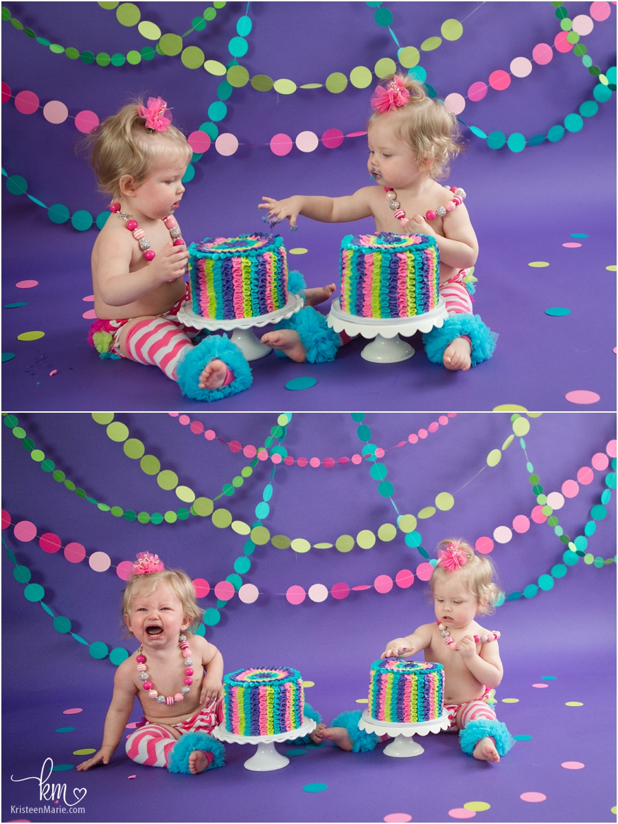 Twin Girls 1st Birthday Cake Smash Neon Colors