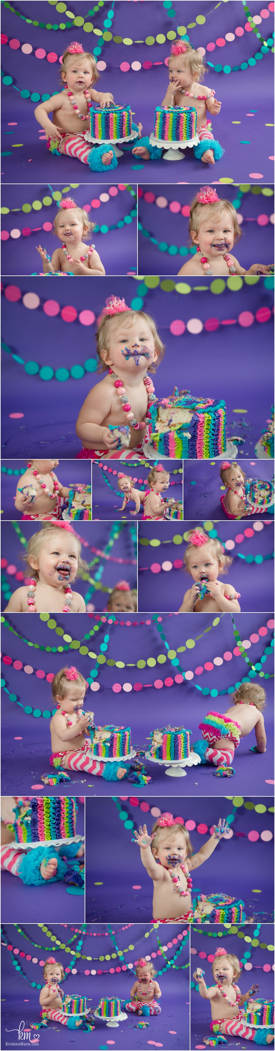 twin girls rainbow cake smash session - neon colors - hot pink, lime green, purple and teal