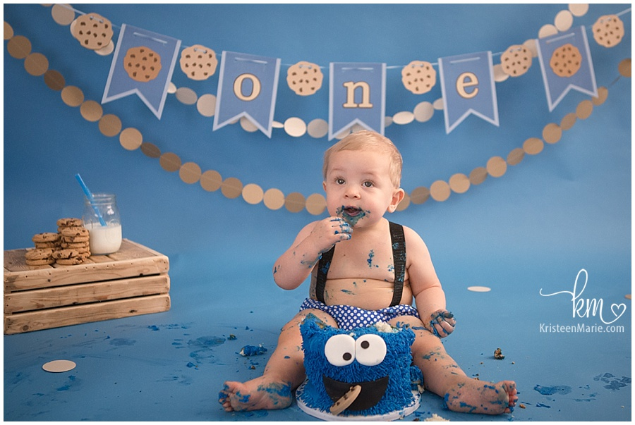happy first birthday/ little boy cake smash birthday/ cookie monster cake smash