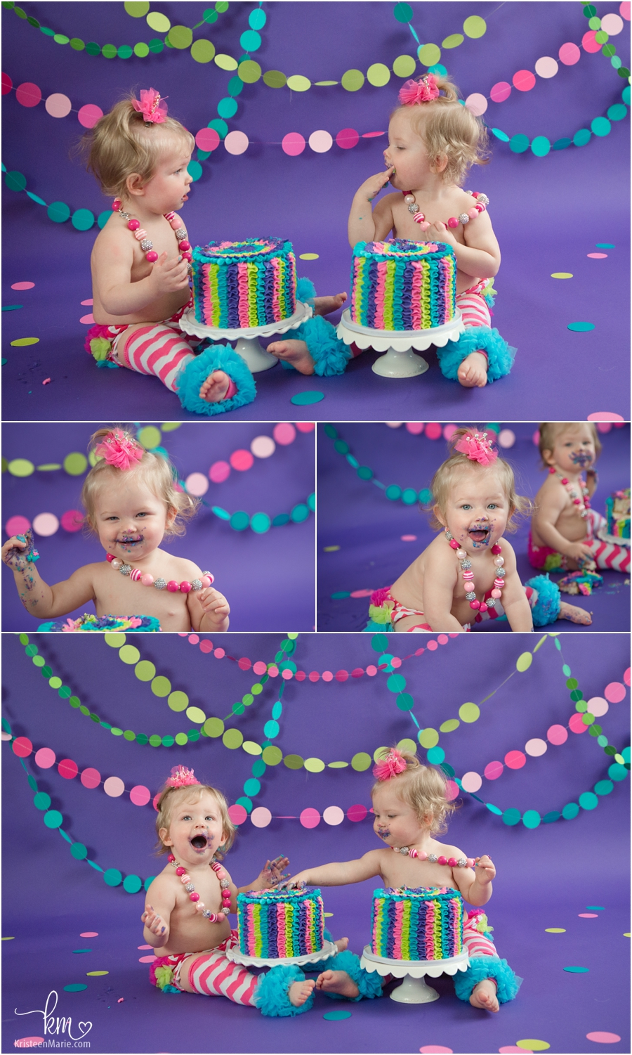twin girls neon colored cake smash session - 1st birthday photography