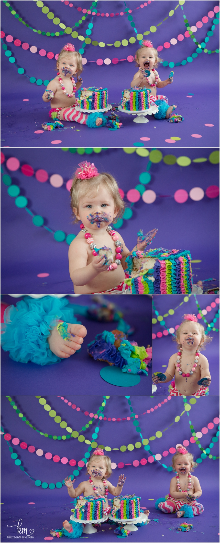 pink, green, purple, and teal birthday party theme - 1st birthday cake smash sesion