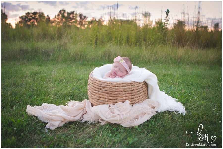 outdoor photography with newborn baby girl
