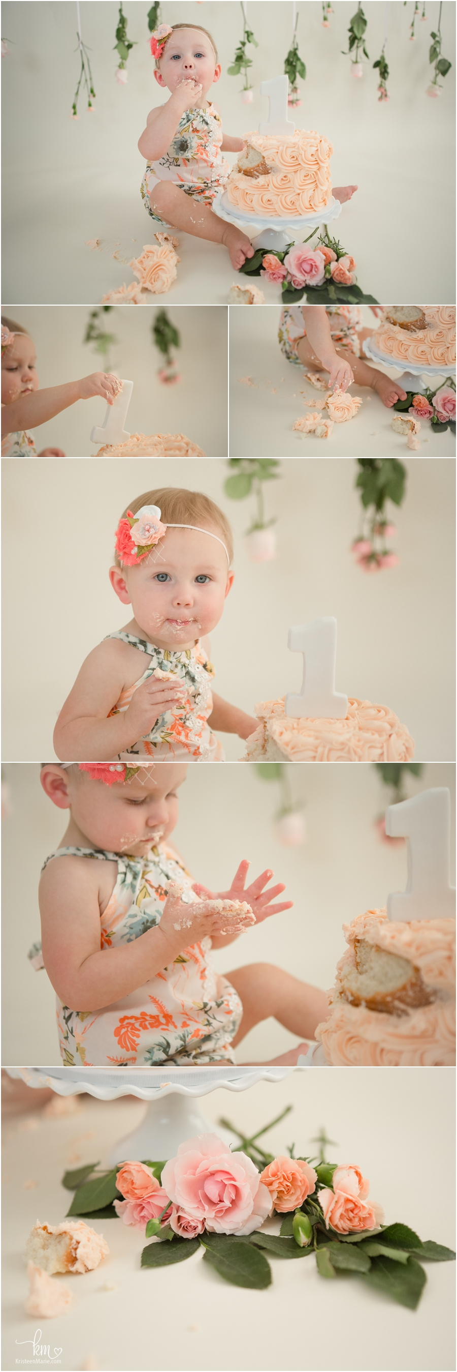 first birthday flower themed cake smash session for baby's first birthday