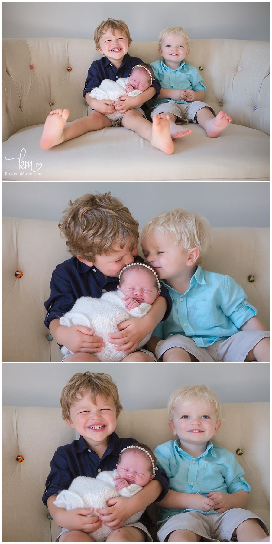 baby girl picture with two brothers