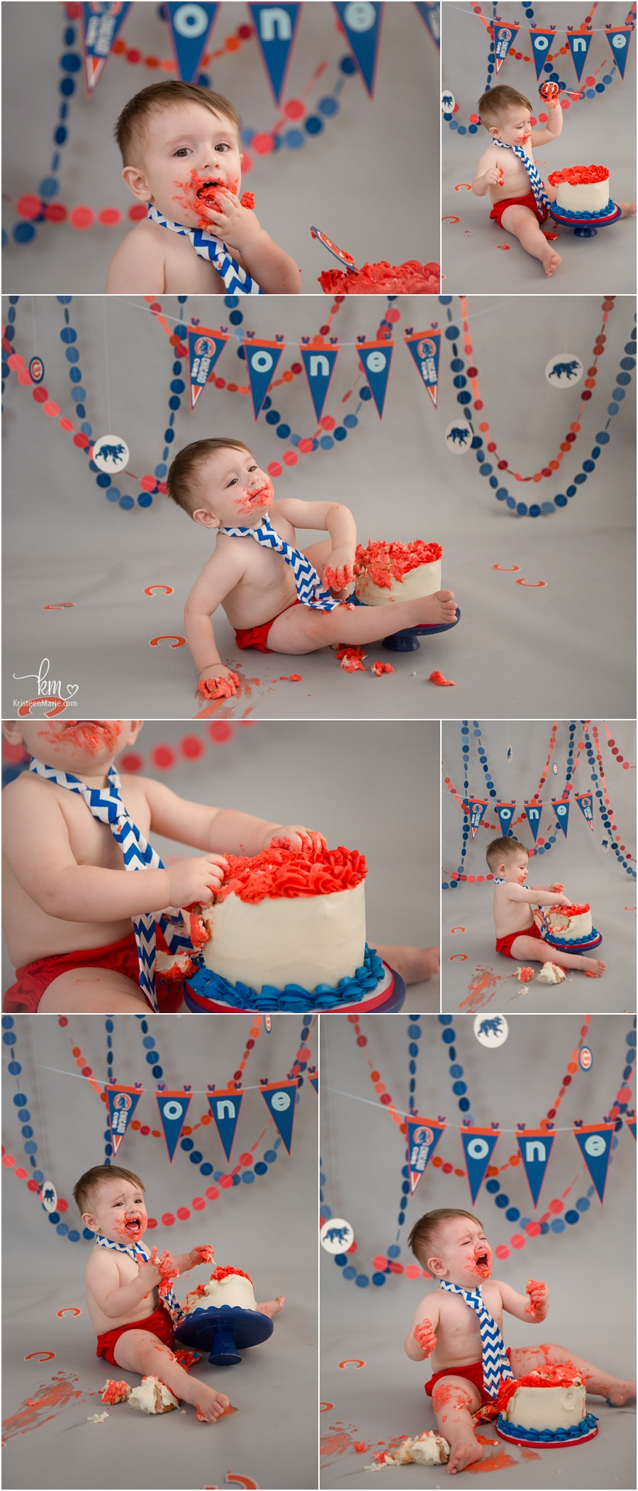Baseball themed cake smash for baby's first birthday - Chicago Cubs