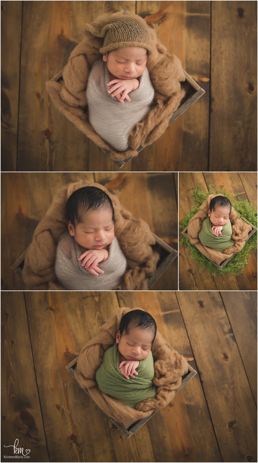 newborn boy on dark wood and wrapped