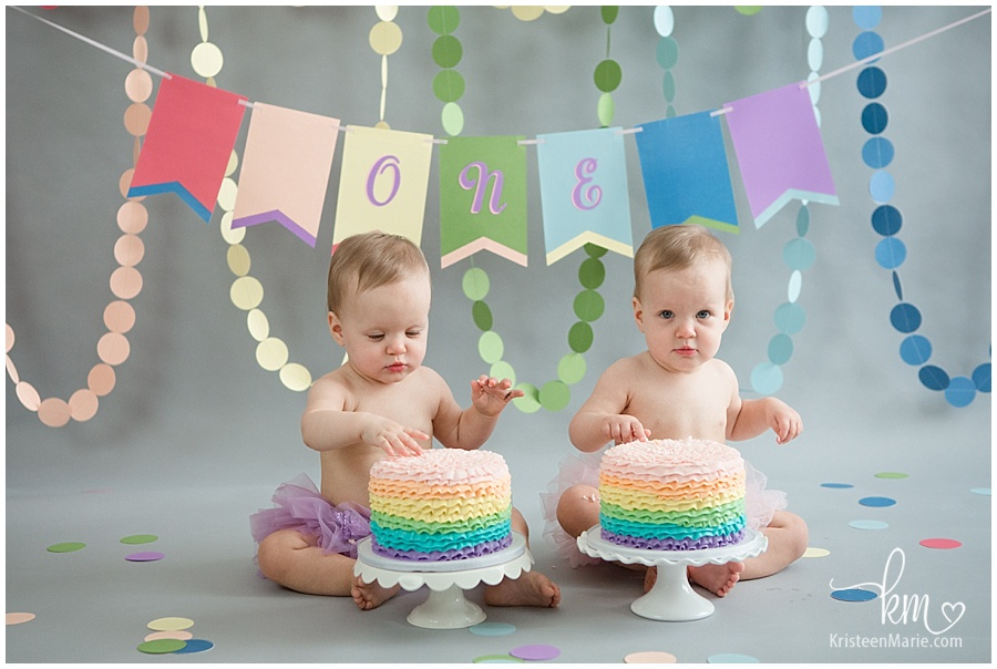 twin girls first birthday cake smash