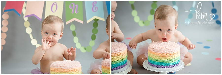 rainbow cakes for first birthday
