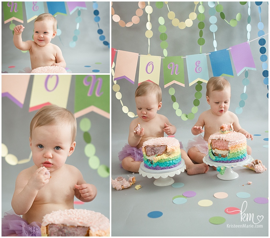twin girls first birthday photos