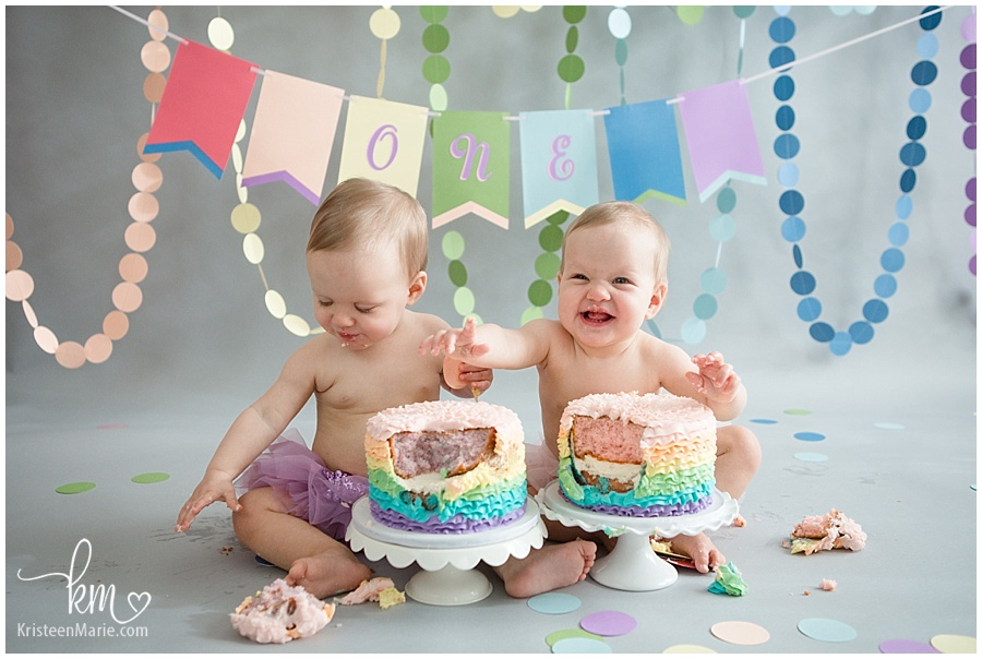 twins cake smash photography