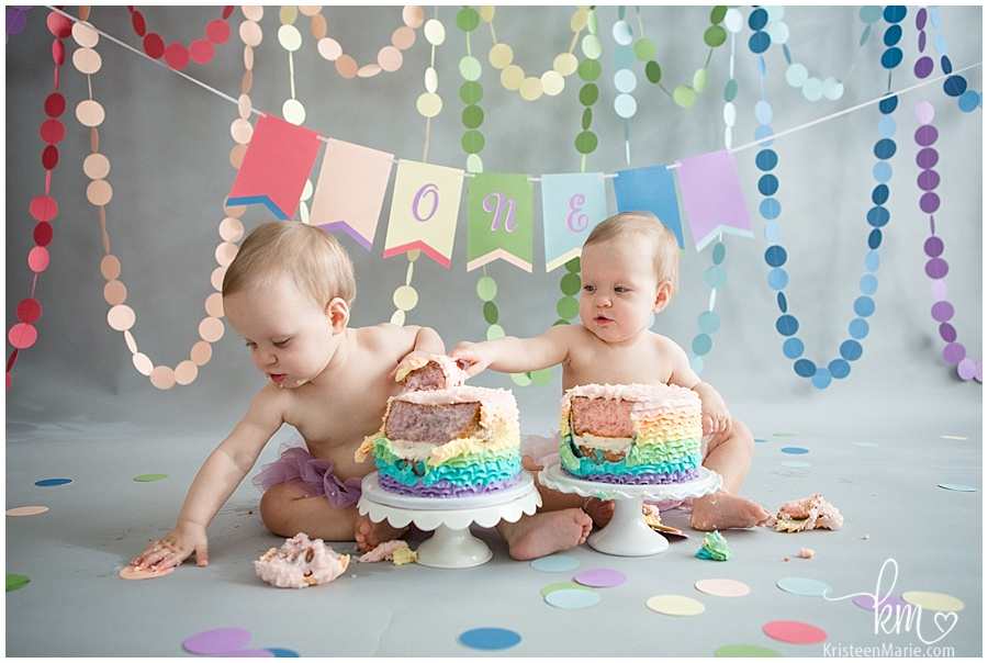 two girls first birthday pictures with cake