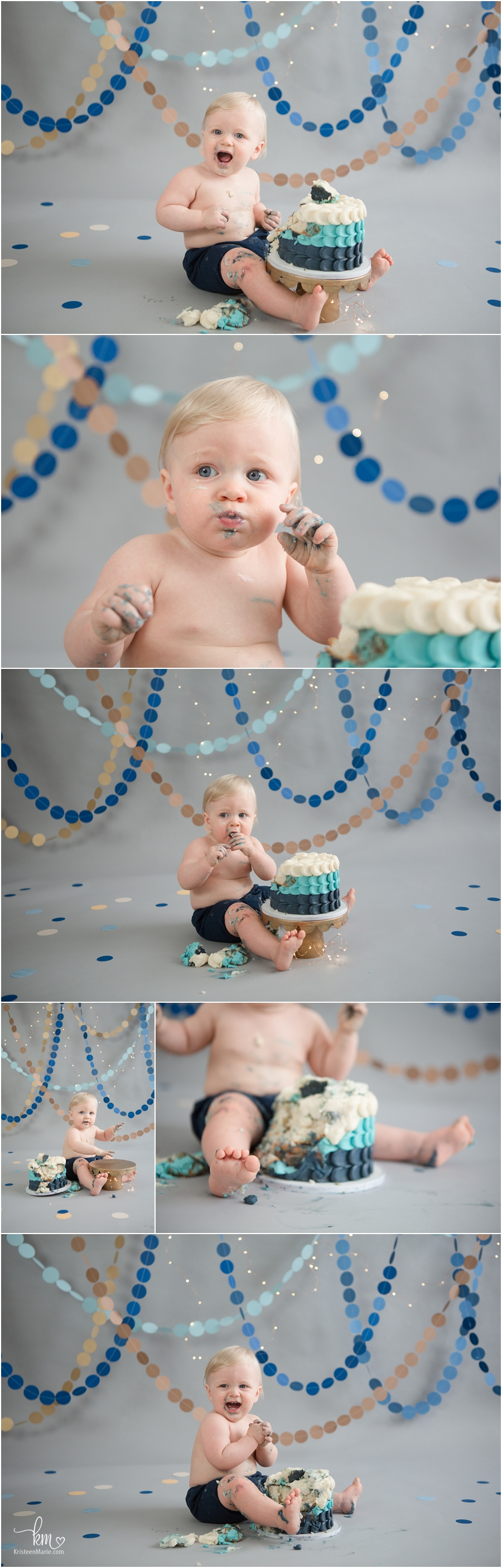 blue and brown 1st birthday theme - happy birthday cake smash photography
