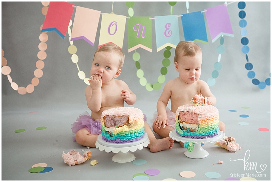 rainbow birthday cake smash photos