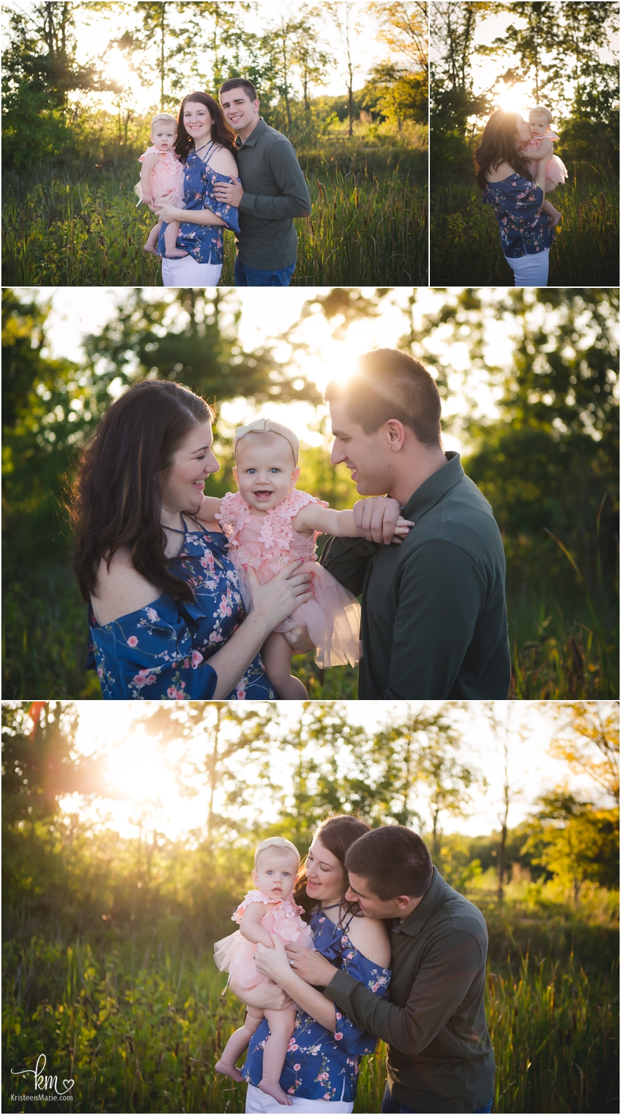 family pictures at sunset in Indianapolis, IN
