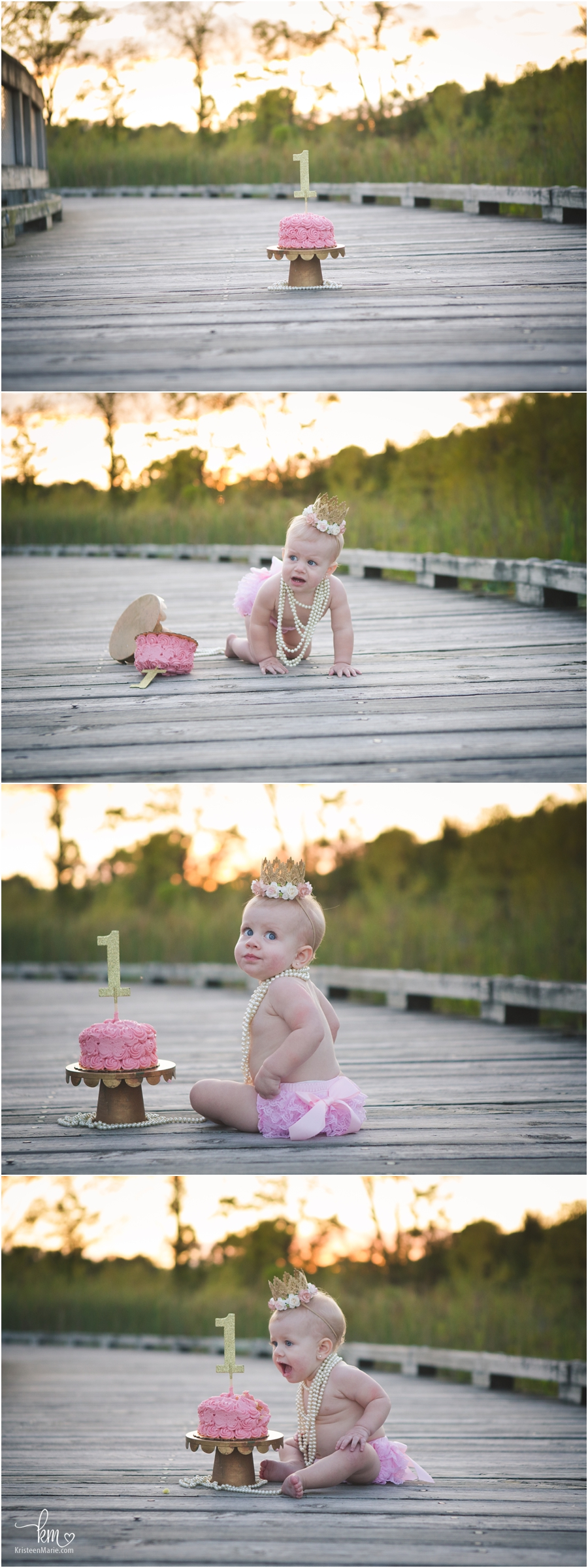 1st birthday cake smash outside at sunset - pink and gold with pearls