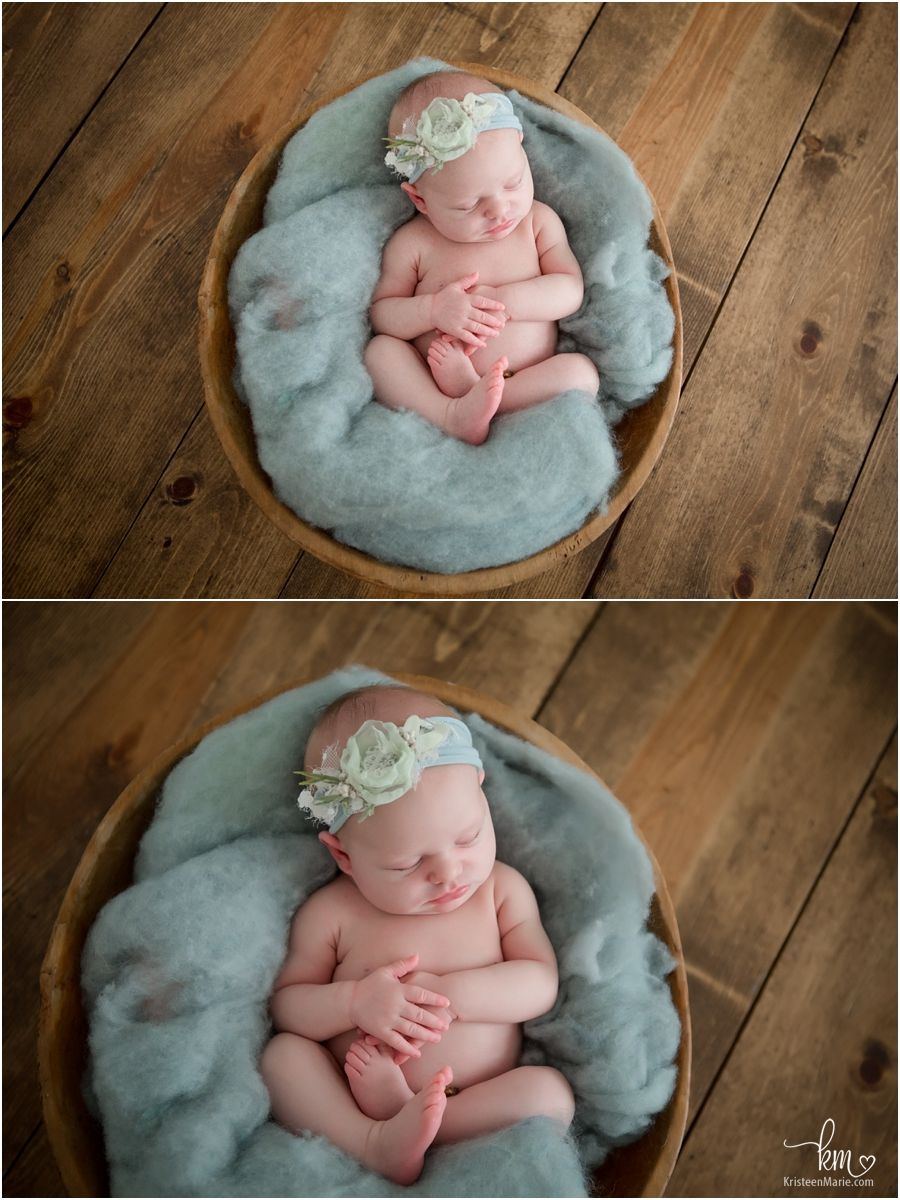 sleeping newborn baby girl on blue - blue looks great on girls too!
