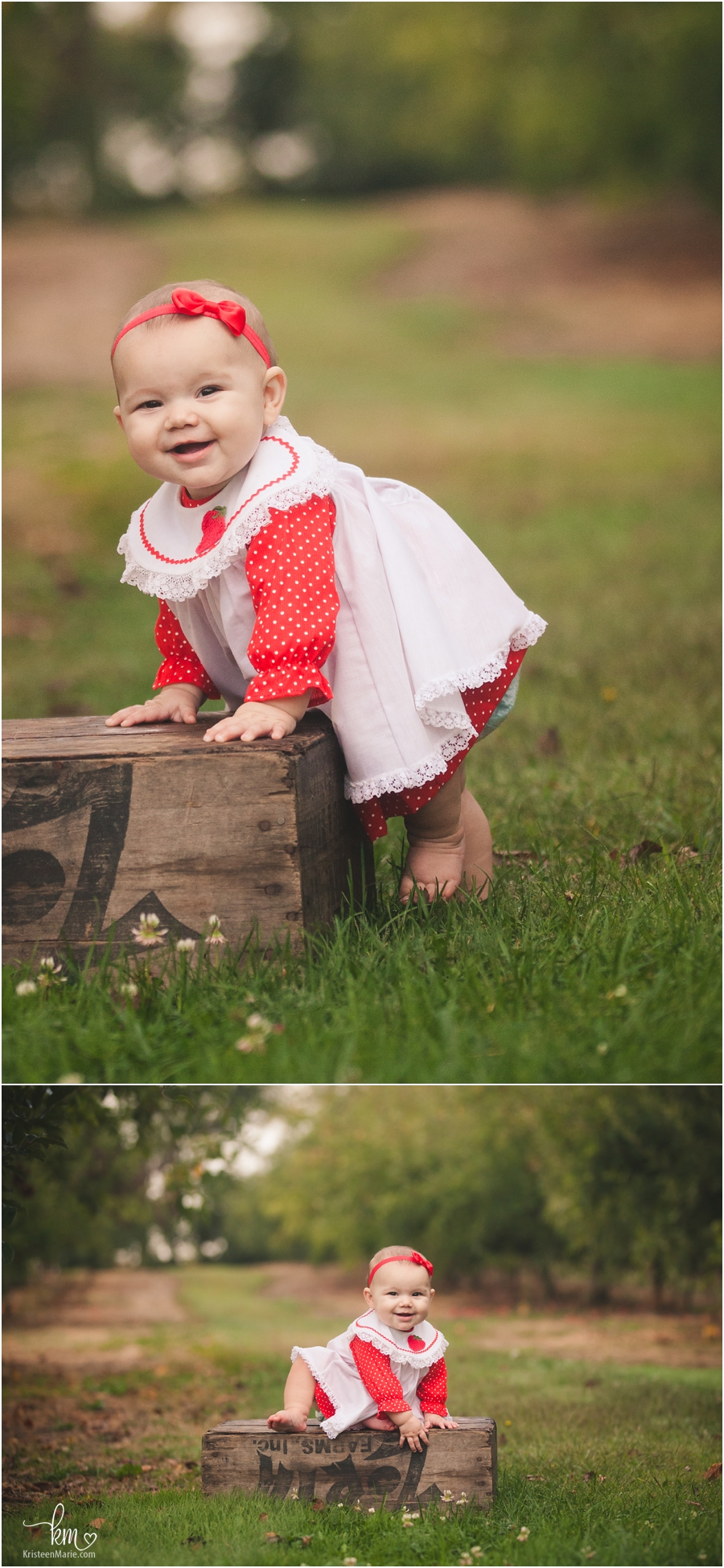 baby girl in vintage outfit