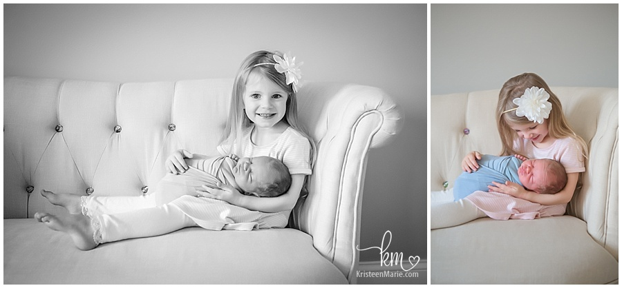 big sister and newborn brother