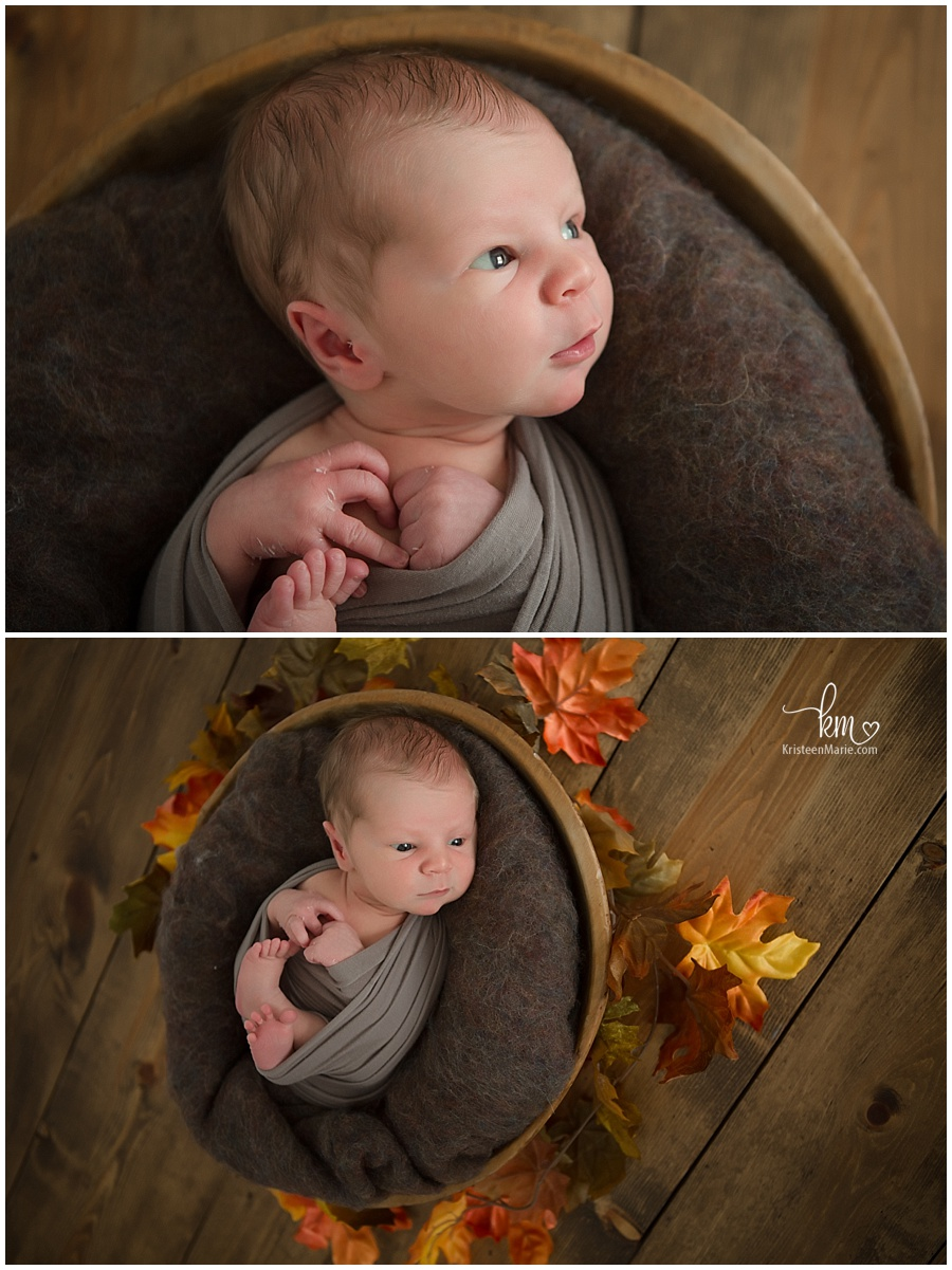 fall newborn baby photography