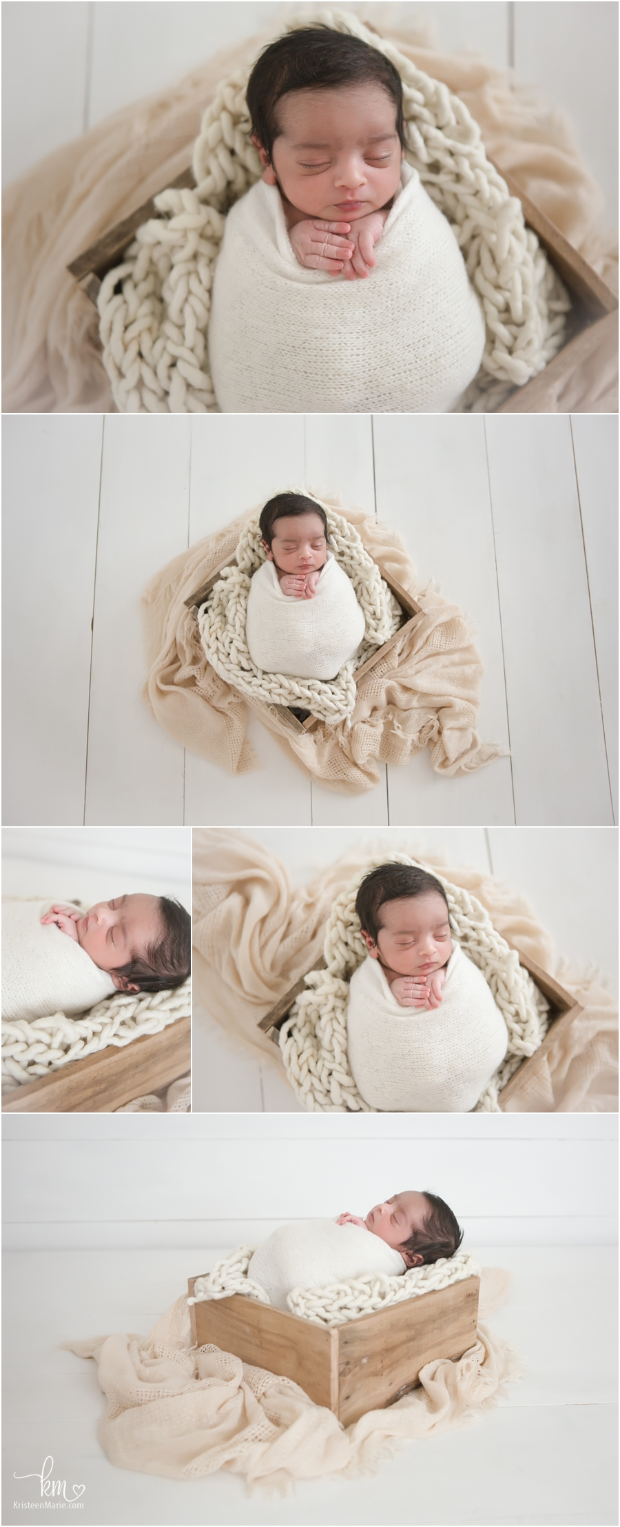 newborn baby boy in neutral colors