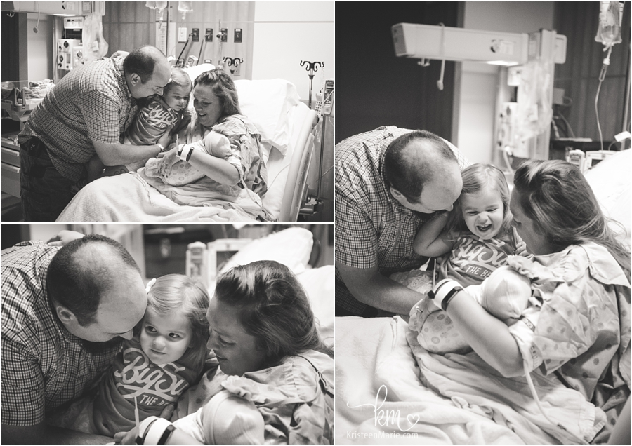meeting new sister for the first time in hospital