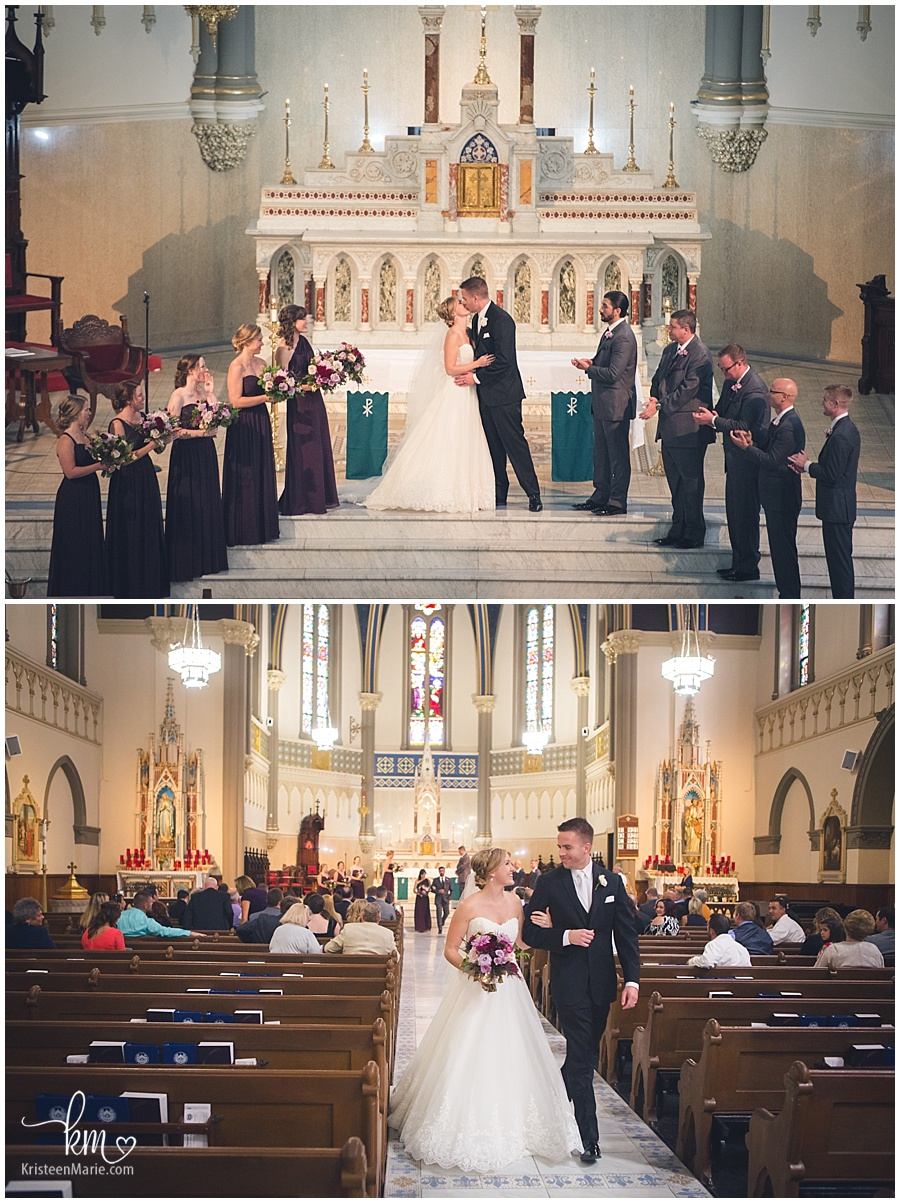 Wedding at St. John the Evangelist Catholic Church in Indianapolis, Indiana