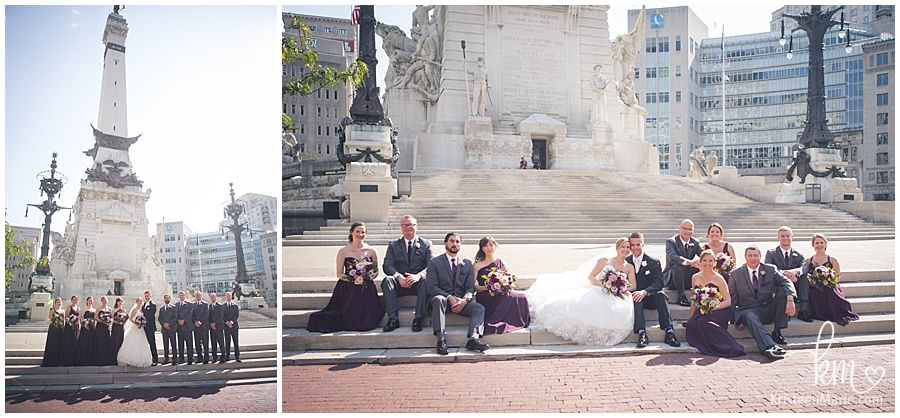 bridal party on Circle in downtown Indianapolis