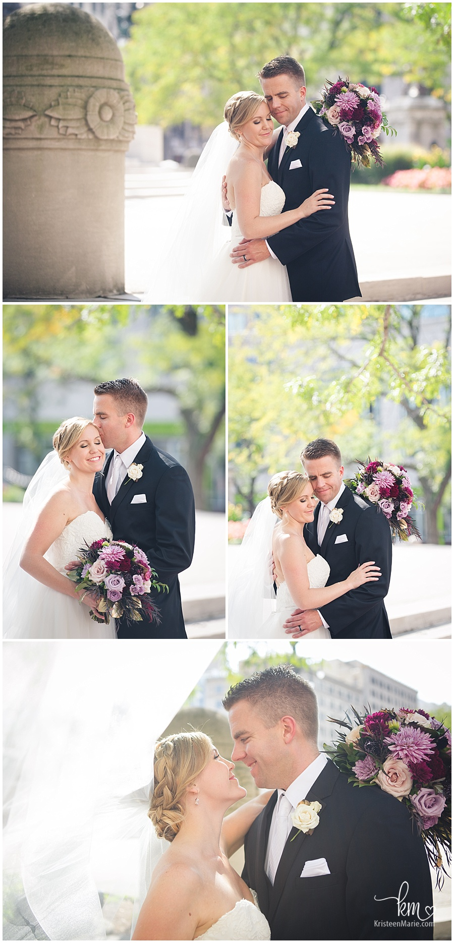 bride and groom portraits - downtown Indianapolis, Indiana