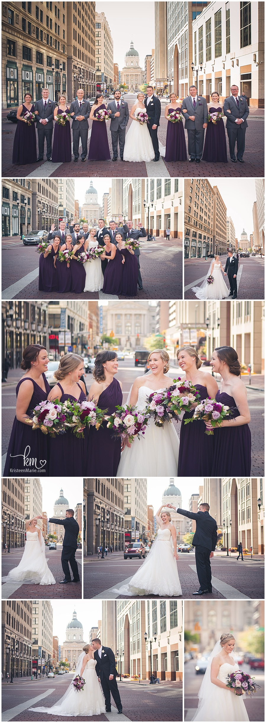 wedding photography downtown Indianapolis, IN - state house in background