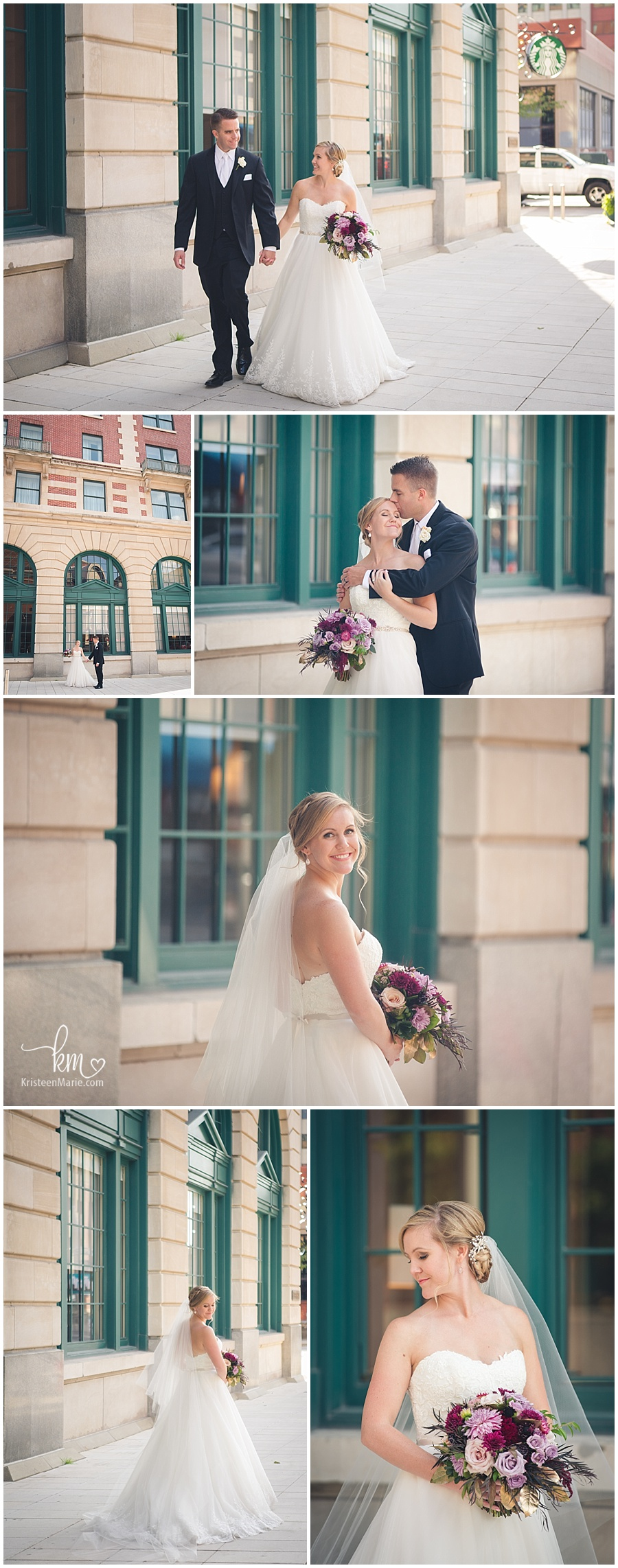 wedding pictures in front of Omni Severin Hotel in Indianapolis, IN