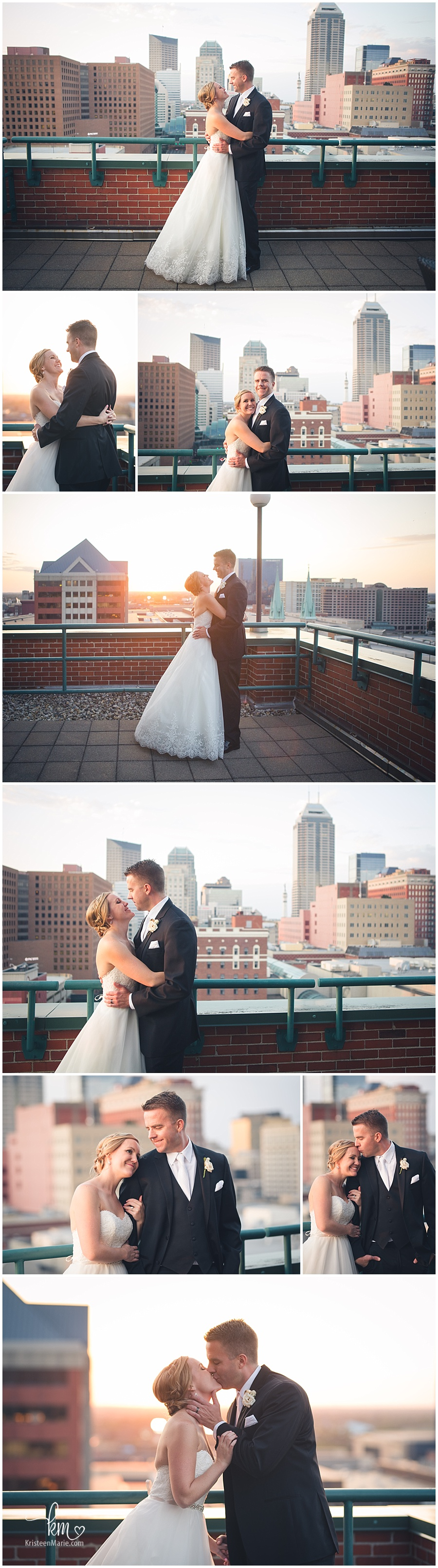 Sunset and Indianapolis skyline - stunning bride and groom!
