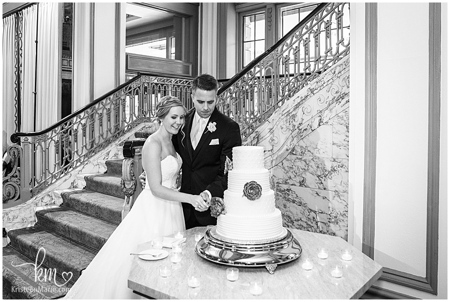 cutting the cake at the Omni Severin Hotel