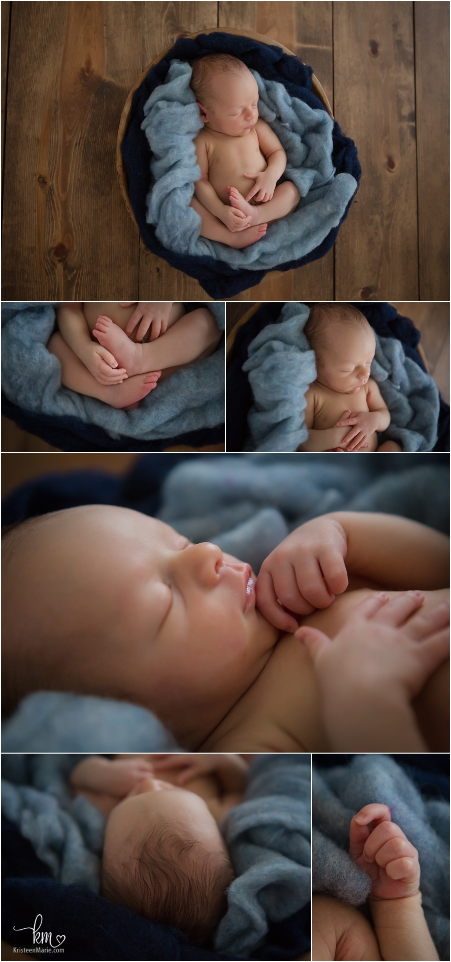 rustic newborn baby pictures - blue on dark wood