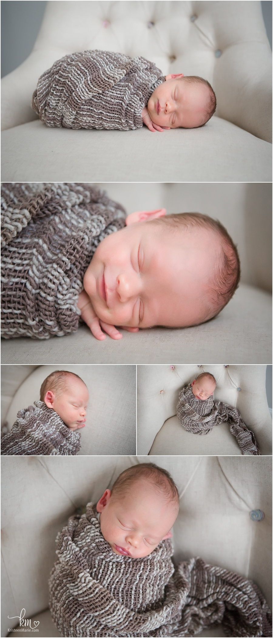 wrapped newborn on chair - happy baby - brown tones