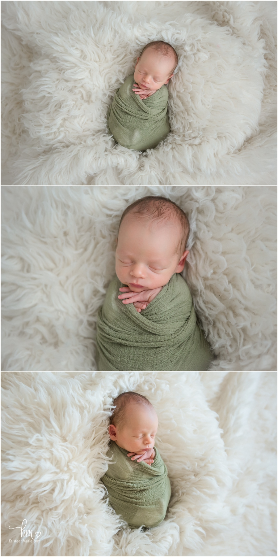 sleeping newborn boy in gren and tan - Indianapolis newborn photography