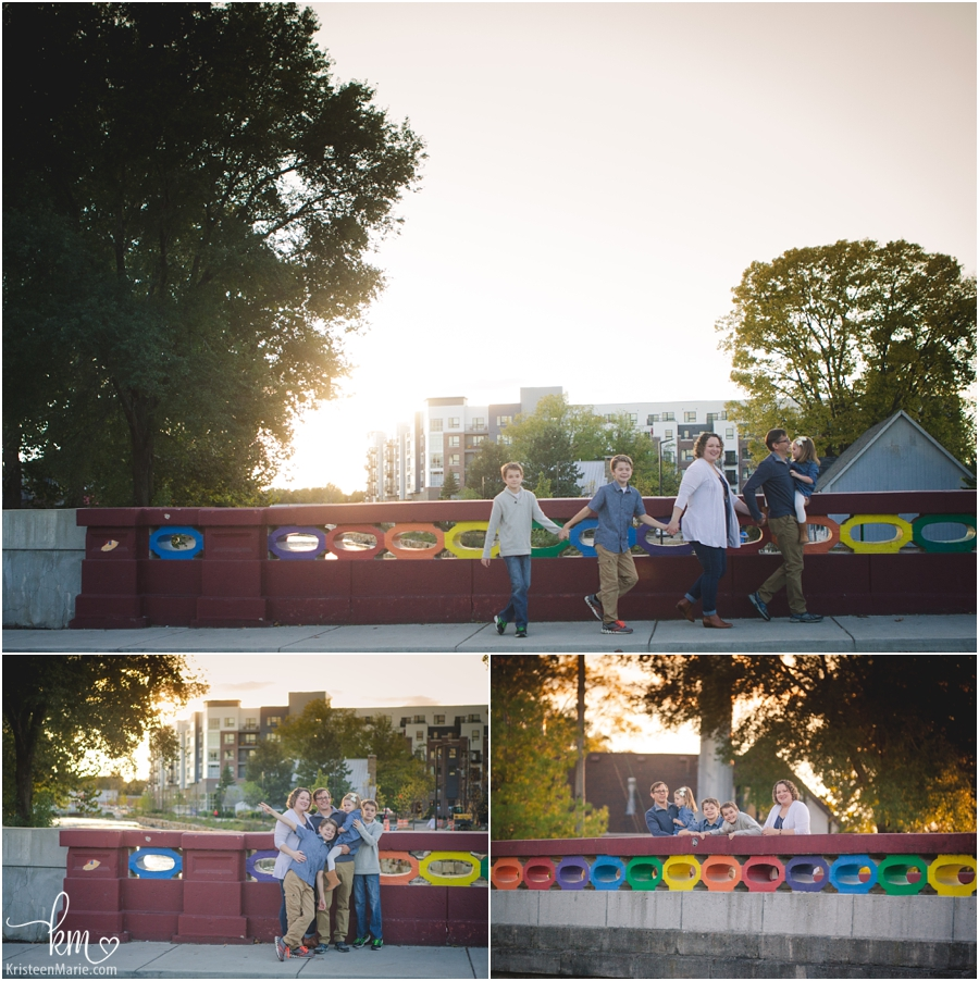rainbow bridge in Broad Ripple - Indianapolis family photographer