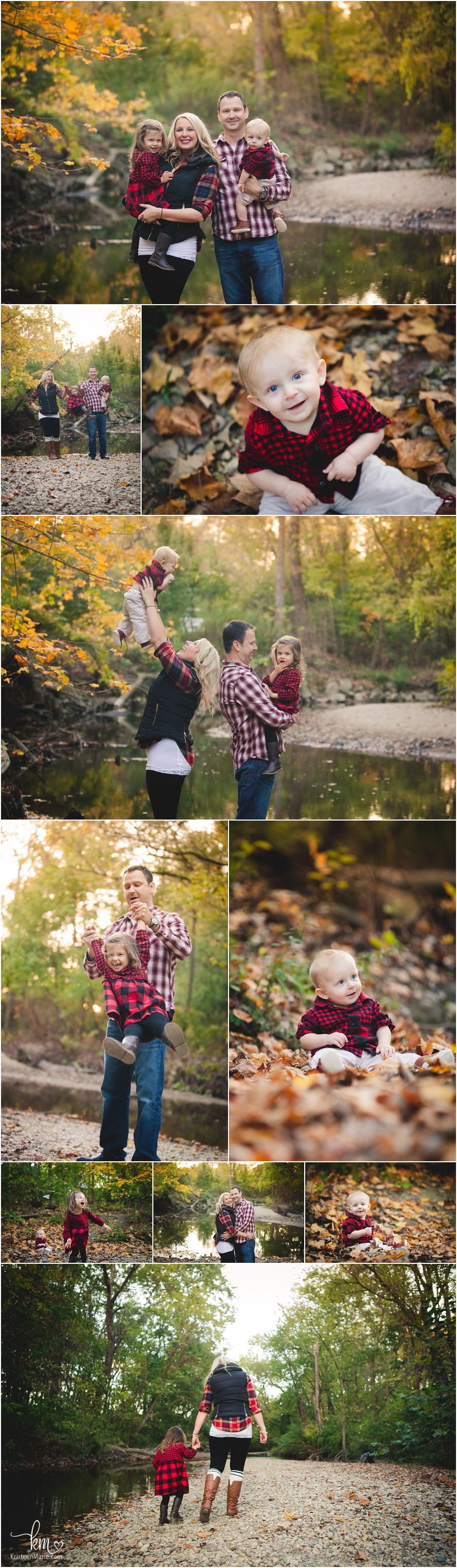 family pictures in fall with stream and rocks - Indianapolis, IN
