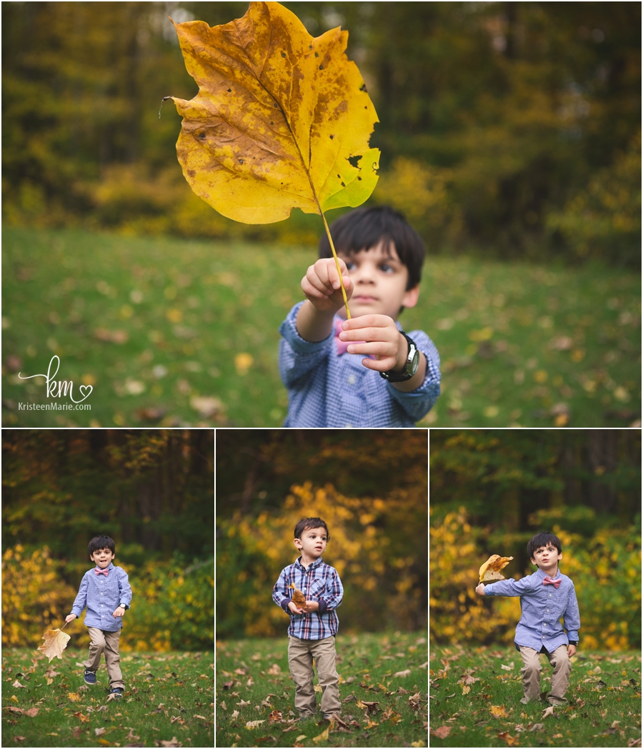 big leaves - fall family pictures in Indianapolis