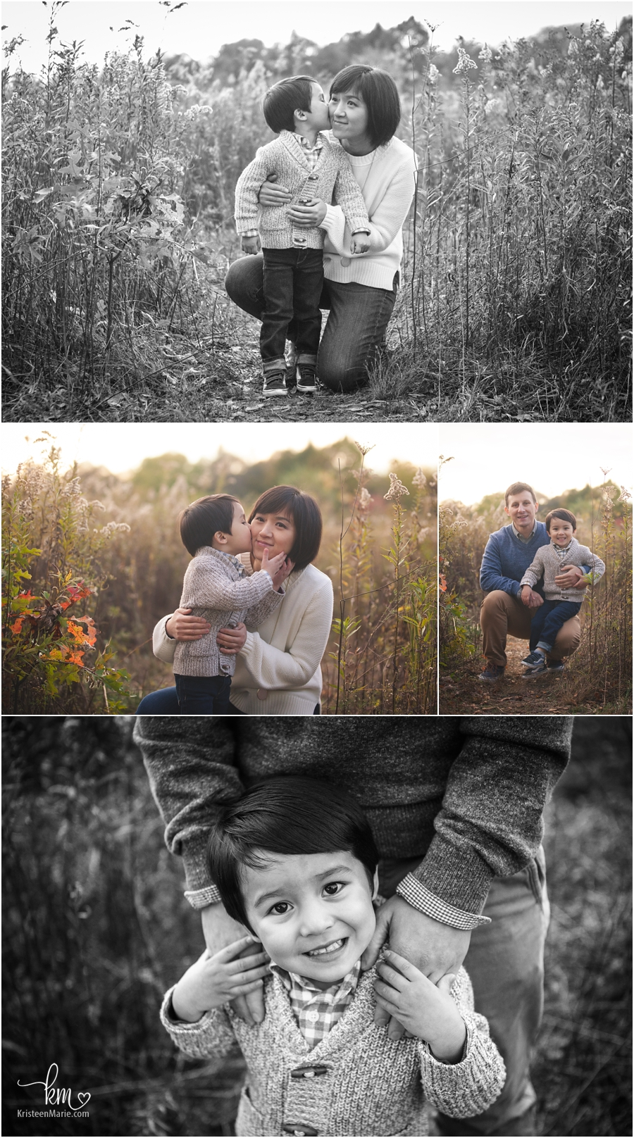 mom and dad with son - color and black and white images