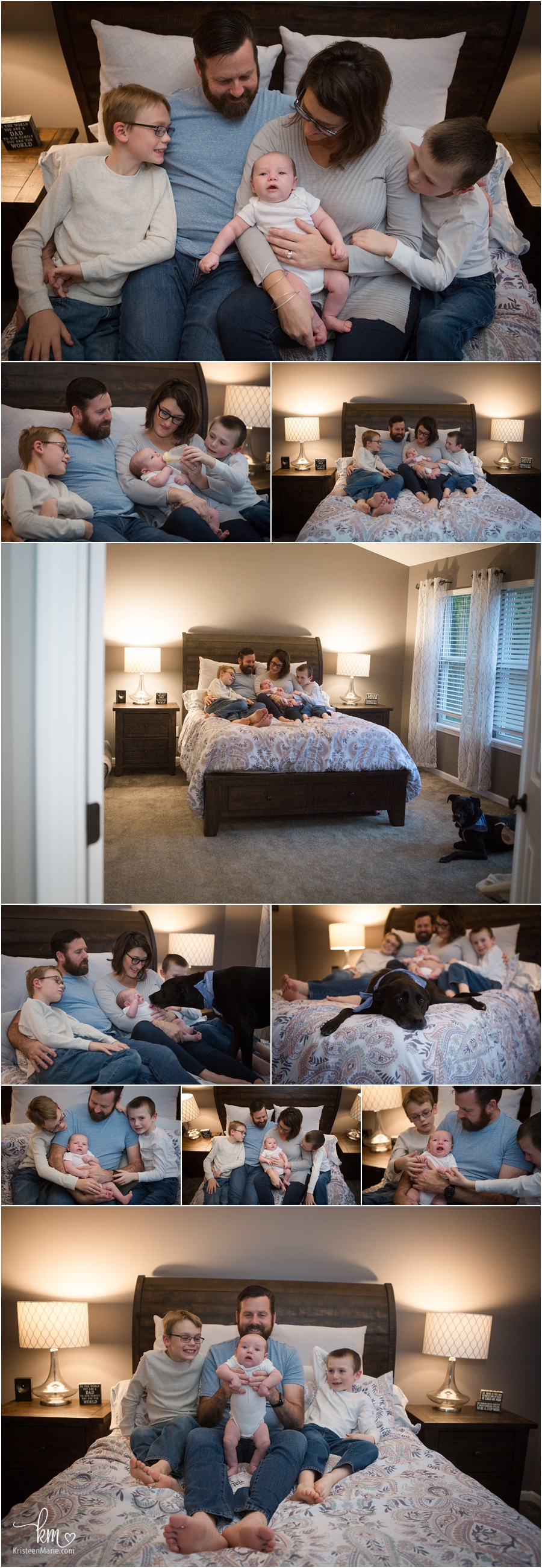 family cuddled up in mom and dad's bedroom - in-home newborn pictures