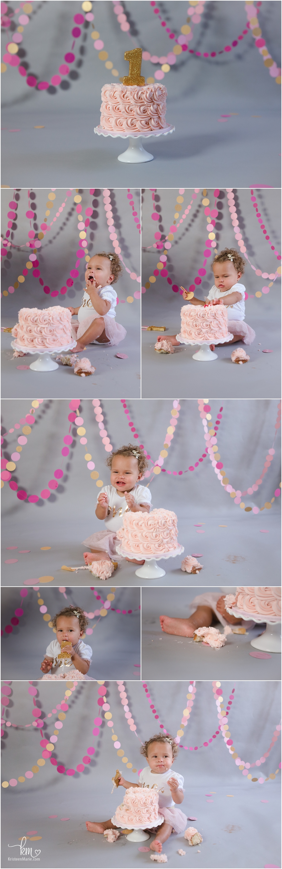 pink and gold cake smash photo shoot