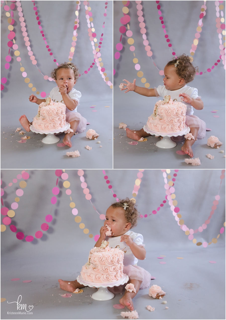 photos of first birthday pink and gold cake smash