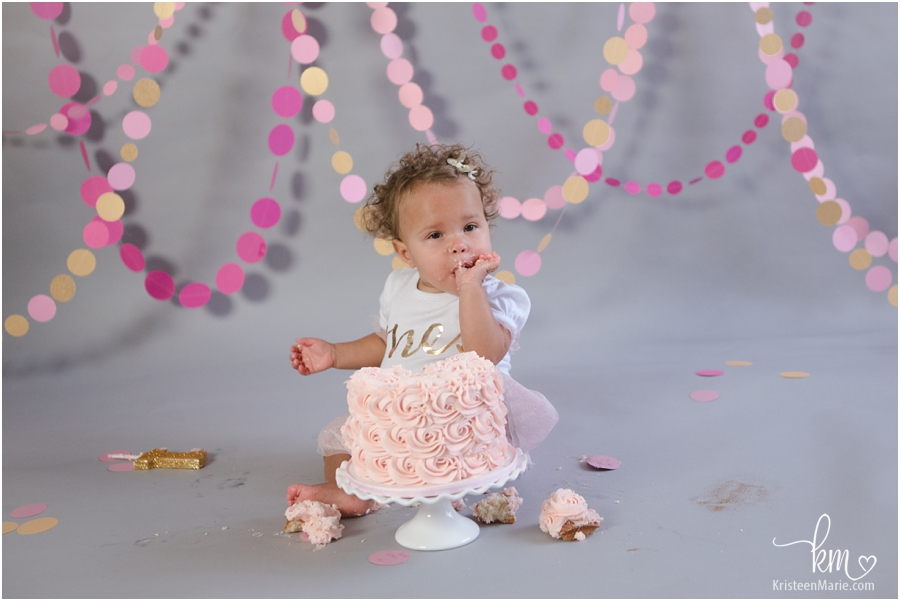little girl first birthday cake smash