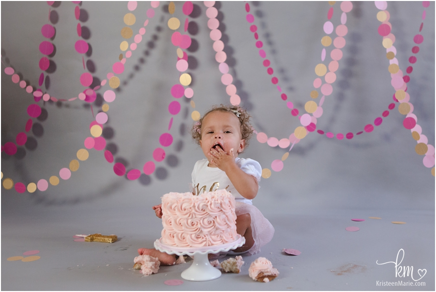 pink and gold cake smash first birthday