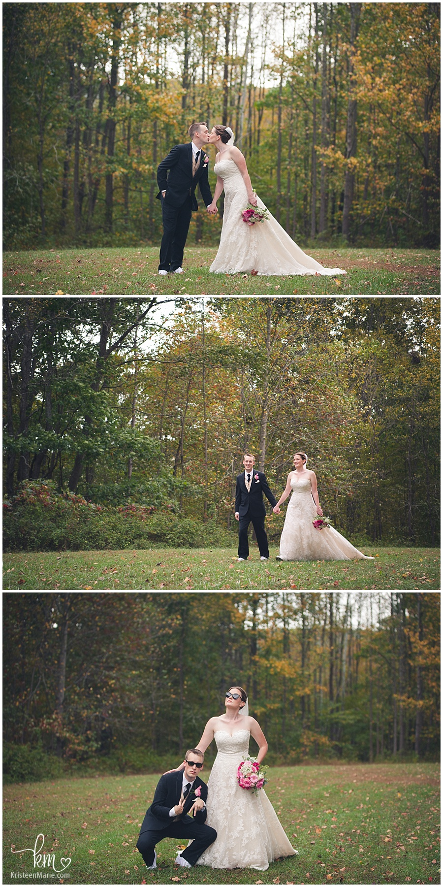 wedding pictures of bride and groom at Brown County State Park in Indiana