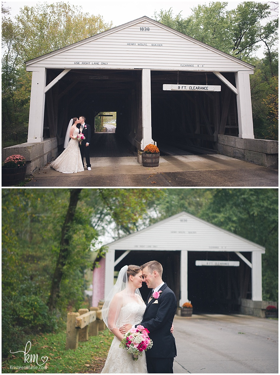 covered bridge wedding pictures