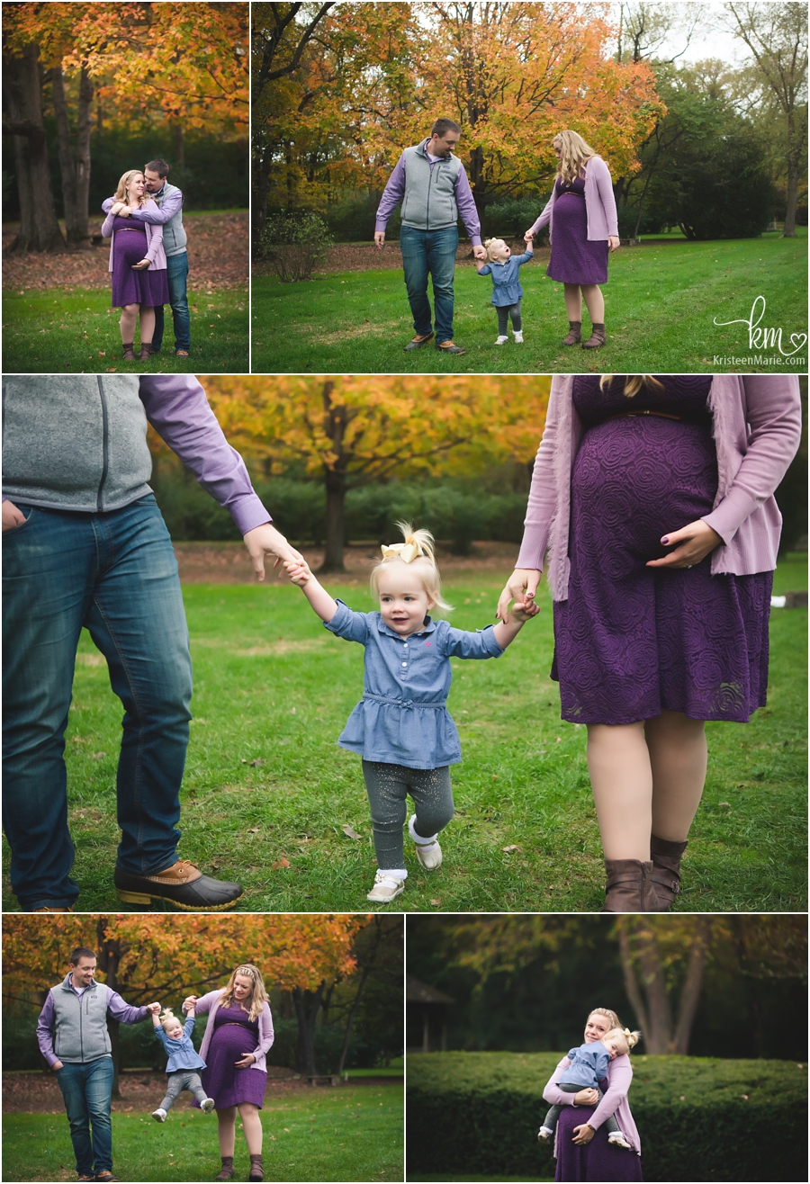 family of three + baby bump - Indianapolis fall maternity photography
