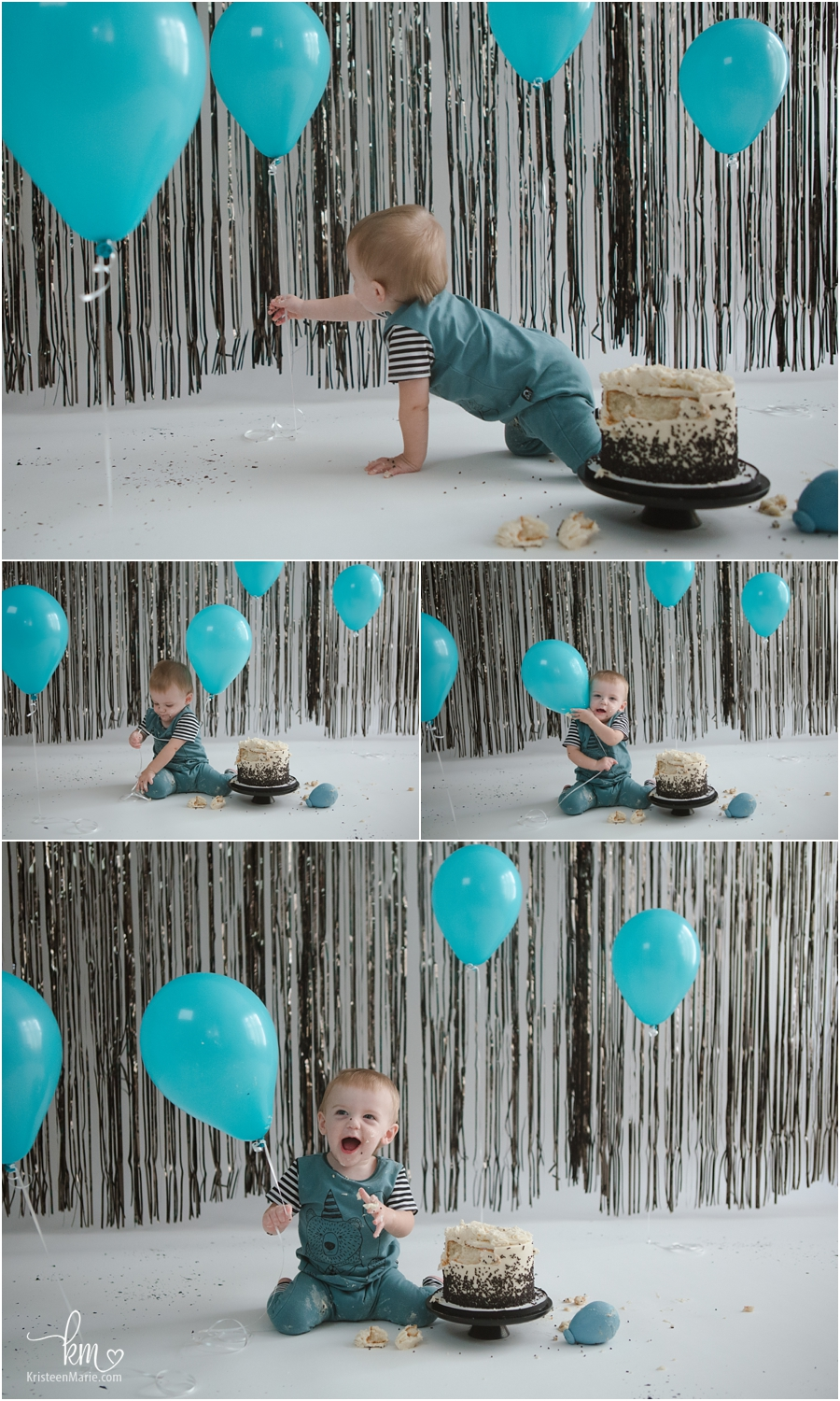 teal baloon with black and white 1st birthday party theme - cake smash session