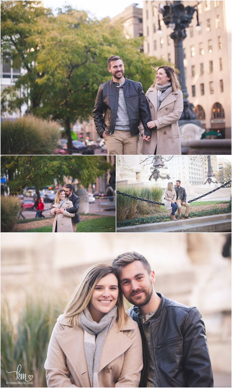 adorable couple after proposal - Downtown Indianapolis